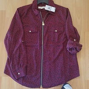 Michael Kors zip-front paisley print blouse